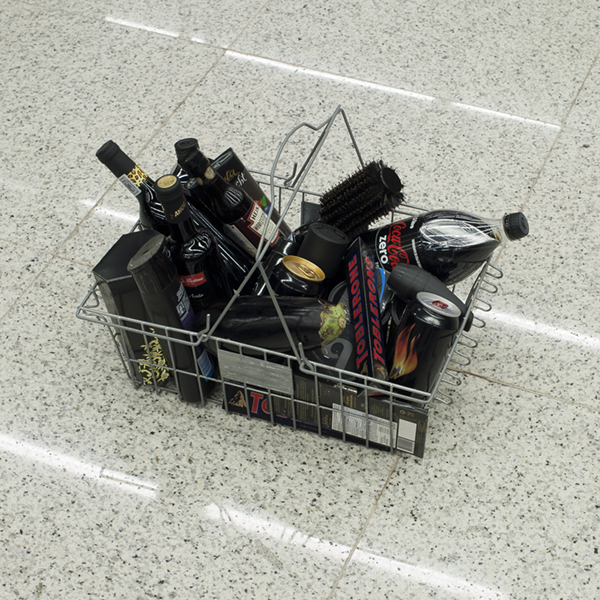 Shopping basket with black products