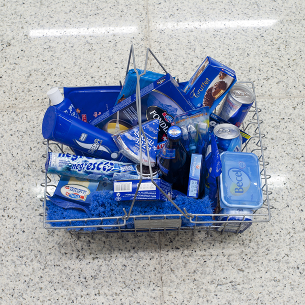 Blue items in shopping basket