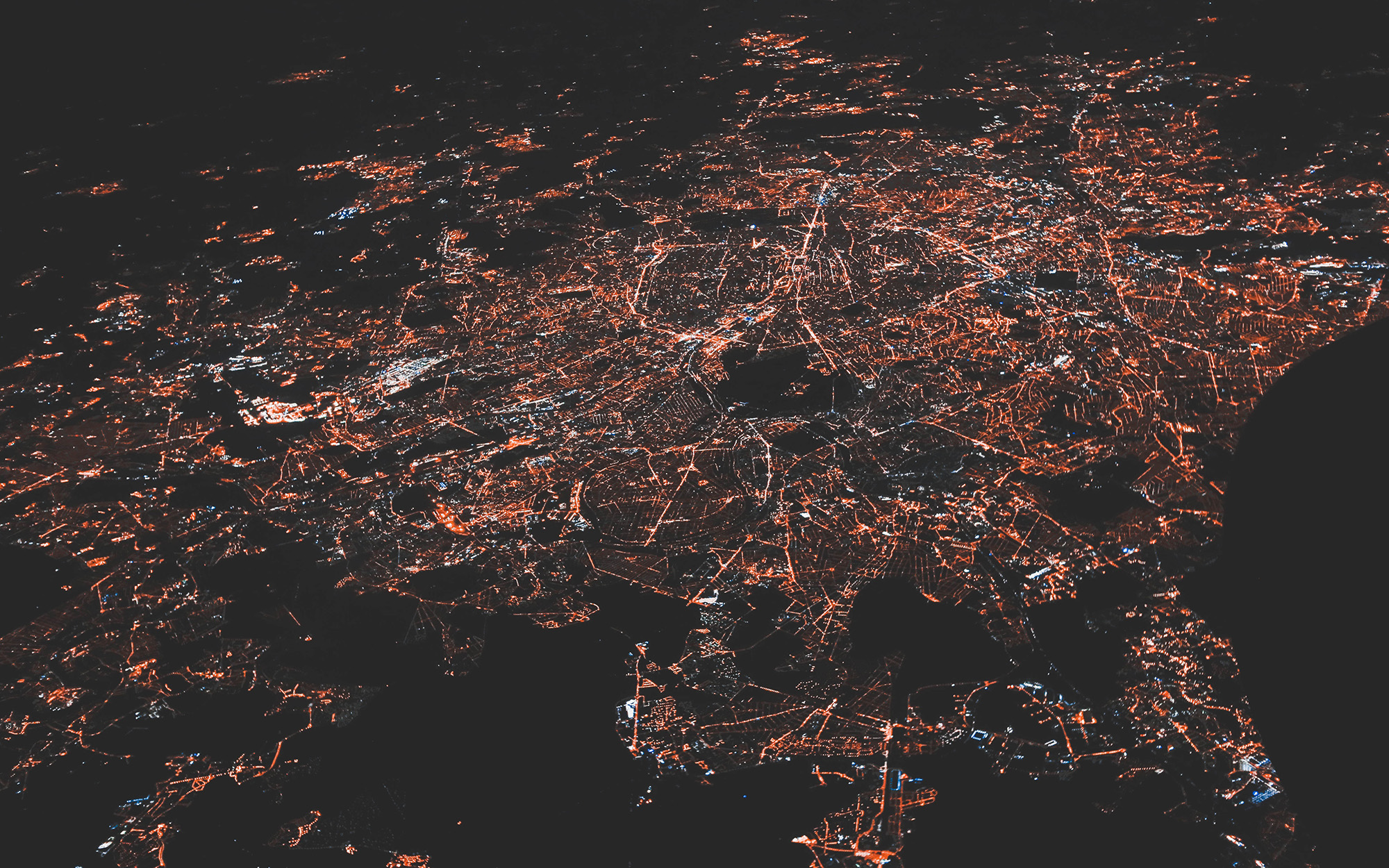 Ariel view of city at night