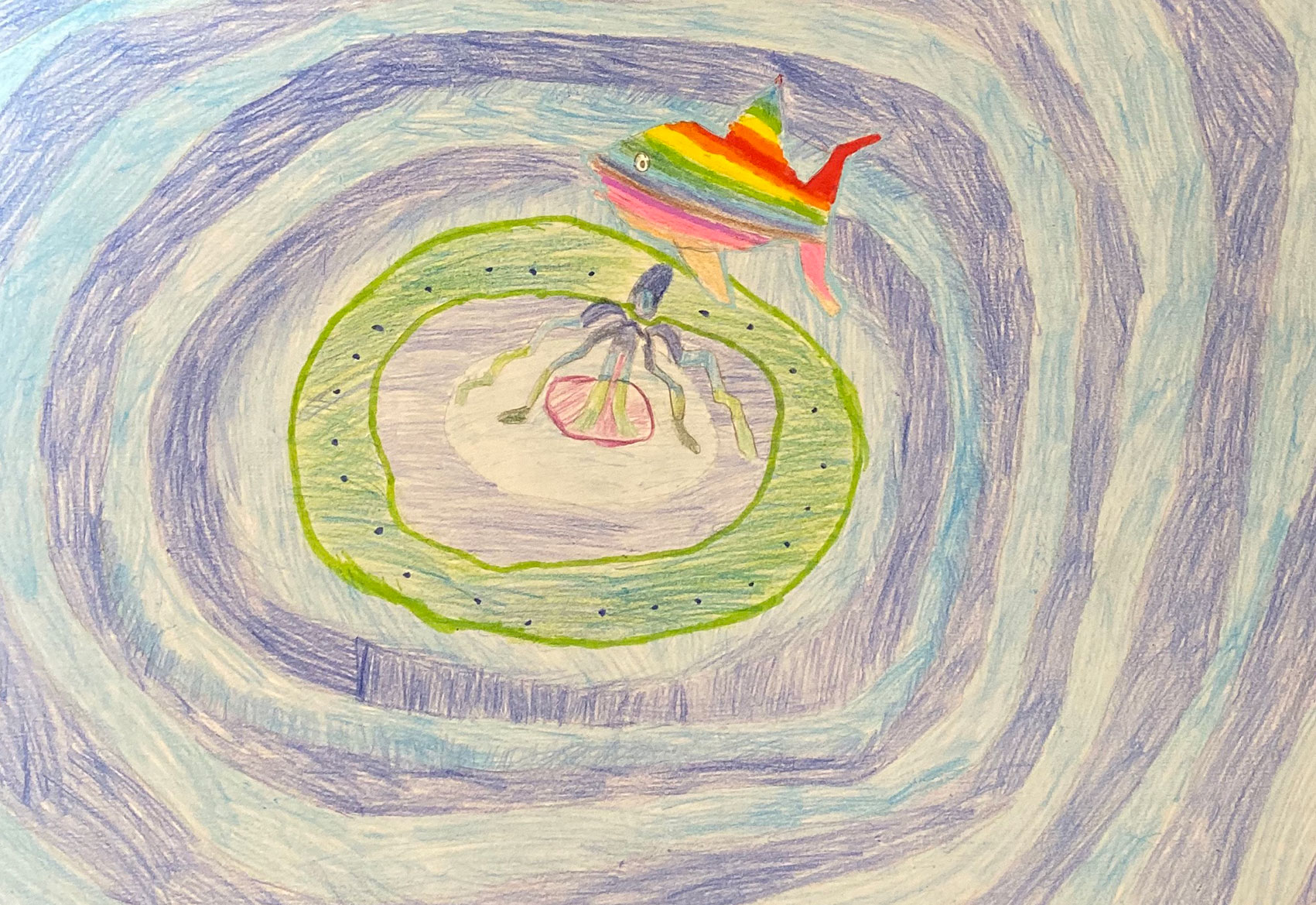 Child's coloured pencil drawing of ripples and a rainbow fish