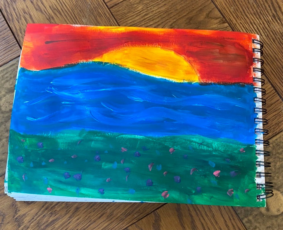 Child's painting of sun and sea