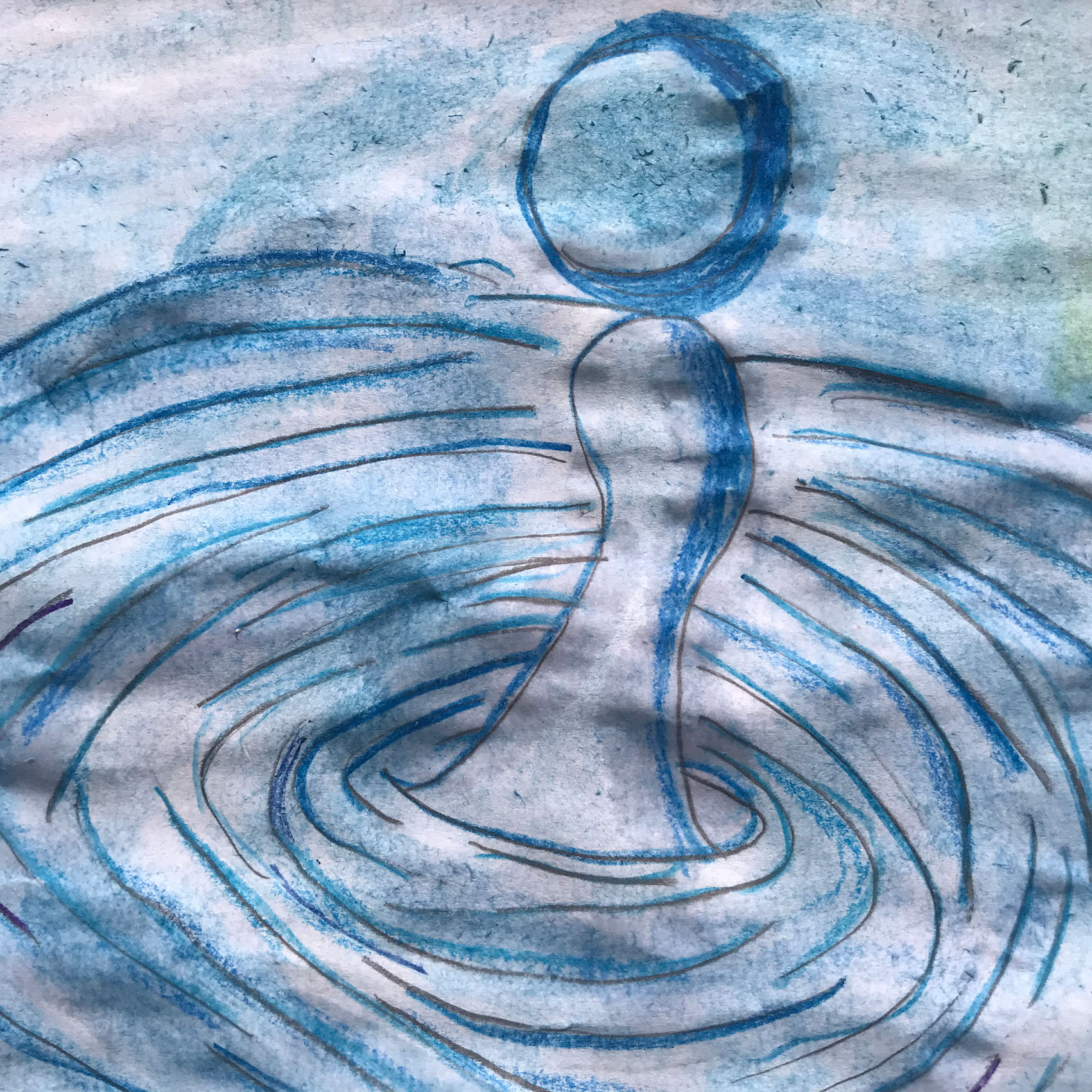Child's painting of ripples in water