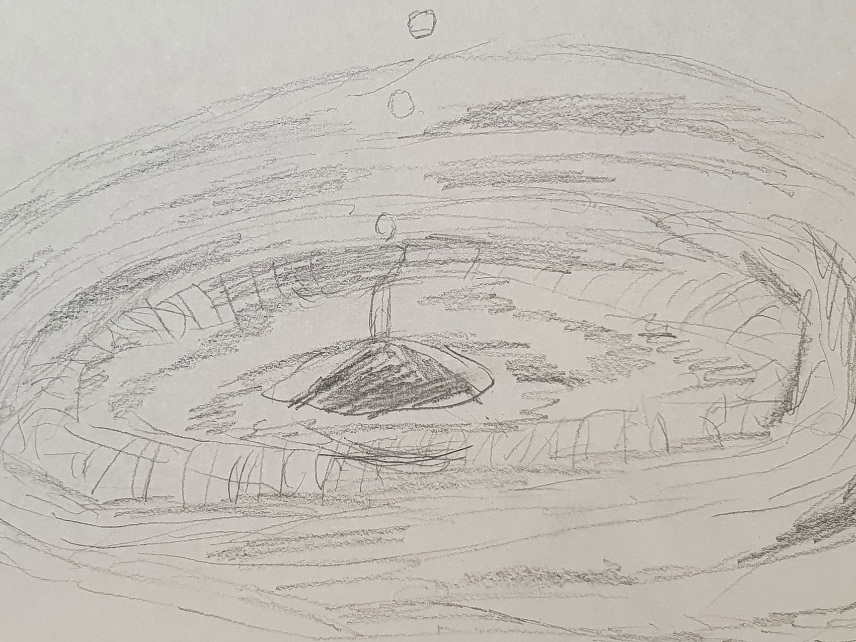 Child's pencil sketch of water droplet and ripples