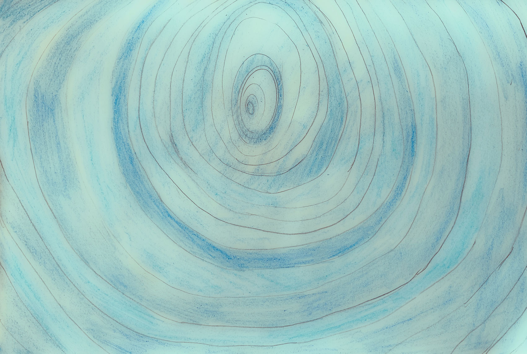 Child's coloured pencil drawing of concentric circles
